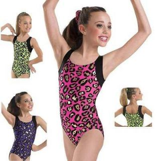 Cheetah Leopard Black Metallic Dance Gymnastics Leotard Child Adult