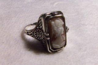 Silver 925 Filigree Cameo Black Onyx Reversible Flip Ring