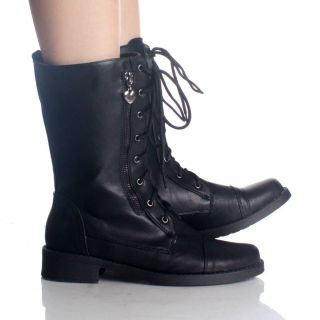 Black Lace Up Ankle Boots Combat Hiking Goth Steam Punk Womens Shoes