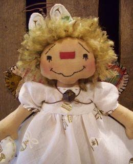 Primitive Raggedy Ann Doll Christmas Hankie Angel Unique Christmas