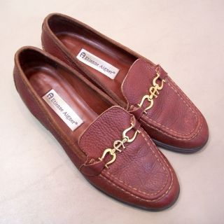 Womans Etienne Aigner Tulsa Brown PEBBLED Leather Loafers Size 7 5 M
