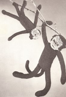 Vintage Crochet Toy Baby Mama Monkey Patterns 2 Sizes