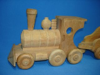 Hand Made Wooden Toy Train Set Steam Engine Locomotive Coal Tender