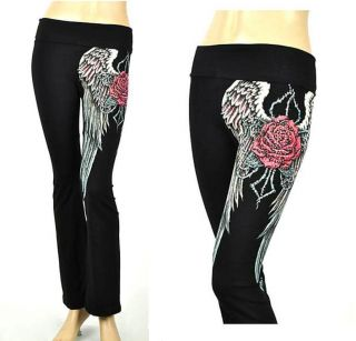 CRYSTAL ROSE ANGEL WINGS TATTOO BLACK YOGA PANTS LEGGINGS M & ED HARDY