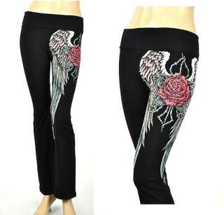 CRYSTAL ROSE ANGEL WINGS TATTOO BLACK YOGA PANTS LEGGINGS M & ED HARDY