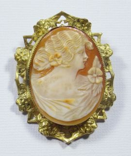 Antique Victorian Large Carved Shell Cameo Brooch Pin