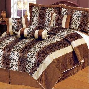 PC Elegant Safari Leopard Print Striped King Size Comforter Set