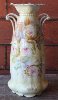 Antique MZ Austria Vase Rose Hand Painted 9 5 Tall 1900