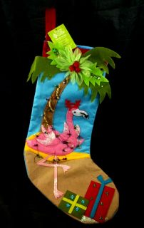 Christmas Stocking NWT Antlers Palm Tree Coconuts Beach Lights FUN