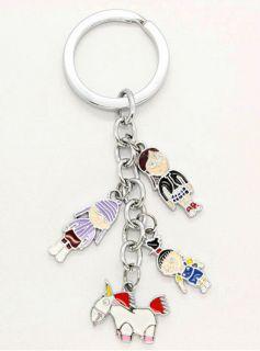 me keyring keychain 4 metal charms: agnes margo eith & unicorn
