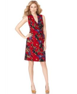 Anne Klein New Floral Print V Neck Faux Wrap Belted Wear to Work Dress