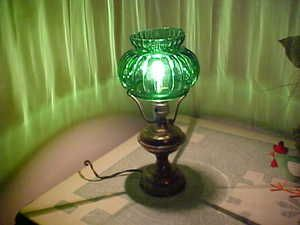 Vintage Antique Brass Student Lamp with Beautiful Green Glass Shade