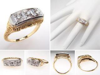 Natural Diamond Three Stone Filigree Anniversary Ring Solid 14K Gold