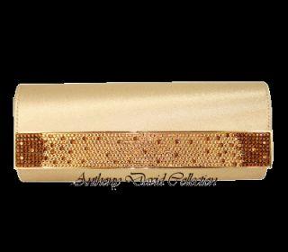 Satin Handbag Purse w Swarovski Crystals ADD26 Gold