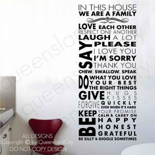 House Rules ~ Wall Quote Family Inspirational Art Decal Vinyl Sticker