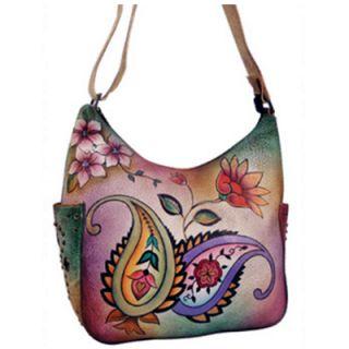 Anuschka Hand Painted Leather Hobo Handbag Paisleys Cherry Blossoms