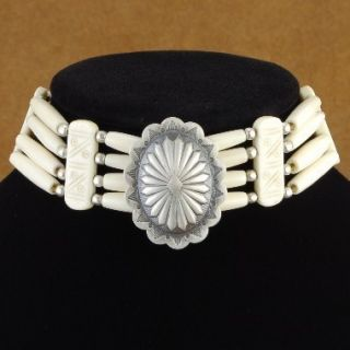 Apache Indian White Pipe Bone Concho Choker Necklace