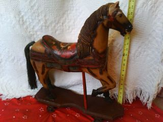 Antique Carousel Style Wooden Horse Pull Toy Cast Iron Wheels Piece Of