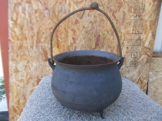 Primitive Antique Large Cast Iron Cauldron Kettle Pot