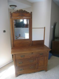 Antique Oak Washboard Dresser with Mirror