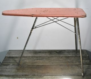 Antique Vintage Pink Tin Child Size Ironing Board Fold Up