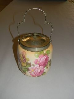Antique Milk Glass Silver Plate Lid Handle Cookie Biscuit Jar Roses