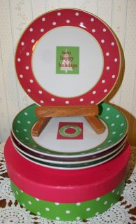 BOSTON WAREHOUSE PORCELAIN CHRISTMAS HOLIDAY DESSERT APPETIZER PLATES