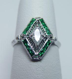 Antique Art Deco Marquise Diamond French Emerald Platinum Filigree