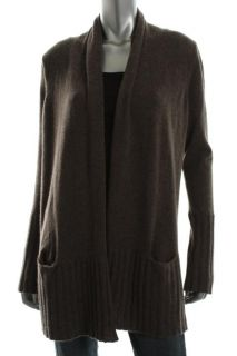 Aqua New Brown Ribbed Trim Cashmere Long Sleeves Open Front Cardigan