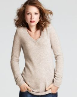 Aqua New Beige Cashmere Ribbed Trim V Neck Long Sleeves Pullover