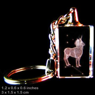 3D Laser Crystal Keychain Astrology Zodiac Sign Aries