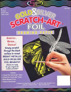 Scratch Art Drawing Paper 10 Sheets 8 1 2 x 11 GOLD SILVER FOIL
