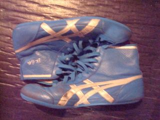 Mens Asics The Gable RARE Wrestling Shoe Size 10 Blue Silver