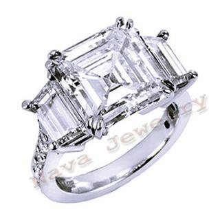 12 Ct Asscher Cut 3 Stone Diamond Engagement Ring