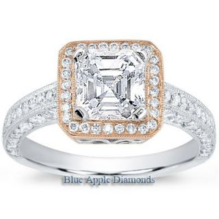 85CARATS Asscher Cut Diamond Engagement Ring with Rose Gold Halo EGL