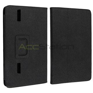 For Archos 101 Internet Tablet Leather Cover Folio Flip Skin Black