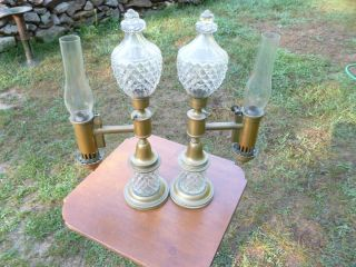 Antique Pair Argand Oil Lamps Brass Glass RARE 19thC Lamp Estate Find