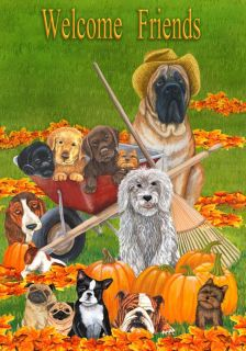 LARGE HOUSE YARD FLAG 28x40 Furry Friends Dog Days of Autumn FLAG 0754