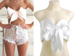 White Bow Tie Front Silk Satin Cropped Top Bralet Bustier Corset M
