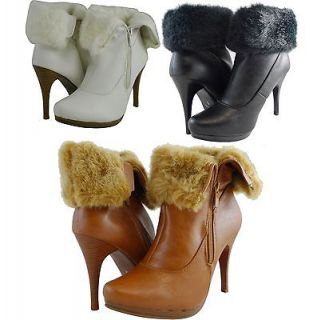 Women Boots Ankle High Fashion High Heels Sexy Fur Faux Leather Black