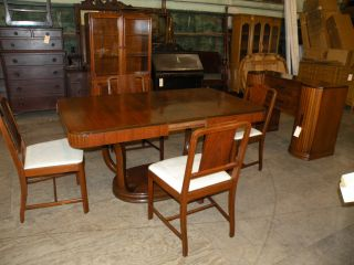 Rockford 1930s Art Deco Antique Dining Room Table Set