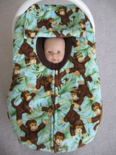 CUTE MONKEYS DOUBLE FLEECE INFANT BABY CAR SEAT COVER WITH FULL ZIPPER