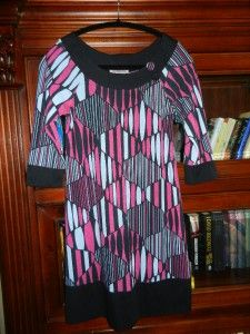 As U Wish Sexy Abstract Black Banded Print Dress Tunic Medium