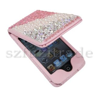 bling wallet leather case for apple ipod touch 4th generation