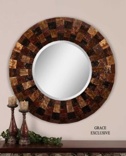 Arvada Round Painted Glass Beveled Wall Mirror