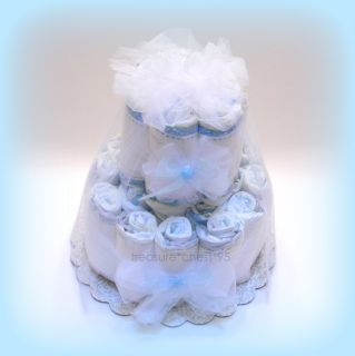 Baby Boy Diaper Cake Shower Centerpiece Blue Decorations Newborn Gift