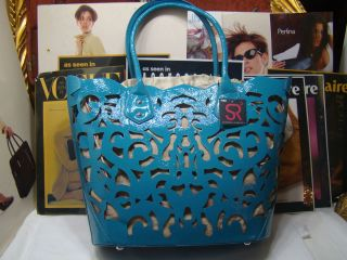 BRAND NEW SONDRA ROBERTS SATCHEL TOTE BAG LAZER CUT BLUE PATENT 179 00