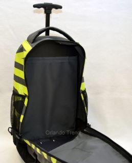 Accessories Microfiber Core Rolling Backpack Black Green Wheeled Bag N