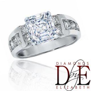 Diamond Engagement Ring 1 80 Ct Natural Asscher Cut 14k White Gold