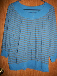 ASHLEY JUDD Medium Blue & Charcoal Shirt Size XL Excellent
